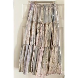 VINTAGE ALFREDOS WIFE tiered watercolor maxi skirt